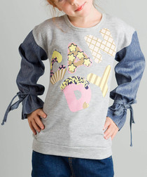 Grey & blue candy print cotton jumper