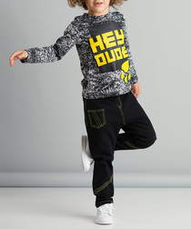 2pc dude print cotton blend outfit set