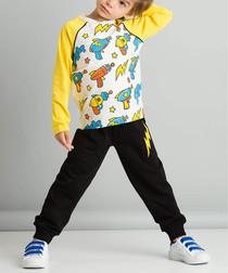 2pc yellow print cotton blend outfit set