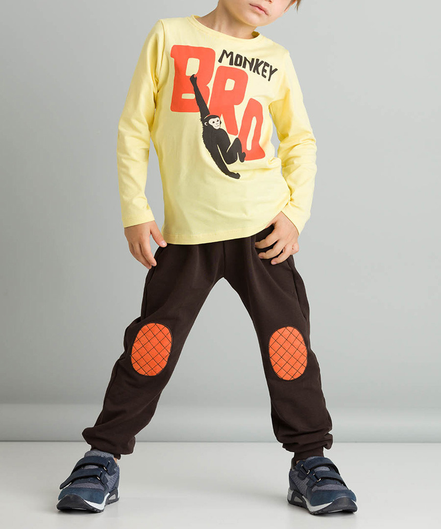 2pc monkey print cotton blend outfit set Sale - ollie&olla