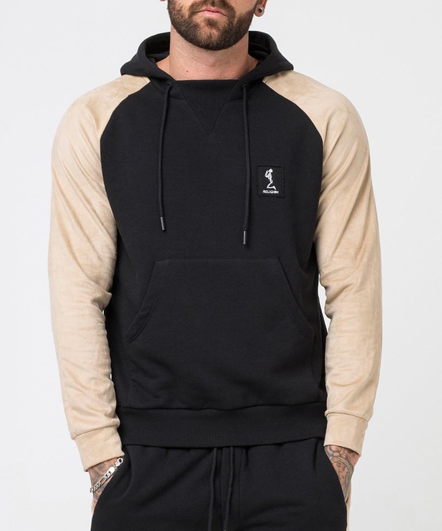 Tuesday black & sand cotton blend hoodie Sale - religion