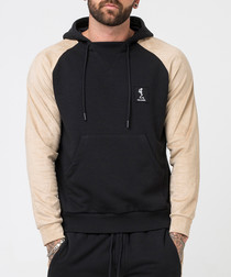 Tuesday black & sand cotton blend hoodie