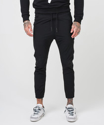 Test black cotton blend skinny joggers