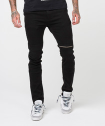 Youth cotton black detail slim jeans