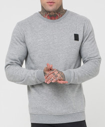Badge grey pure cotton jumper