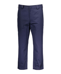 Frequency navy pure cotton trousers
