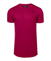 Crimson pure cotton longline T-shirt