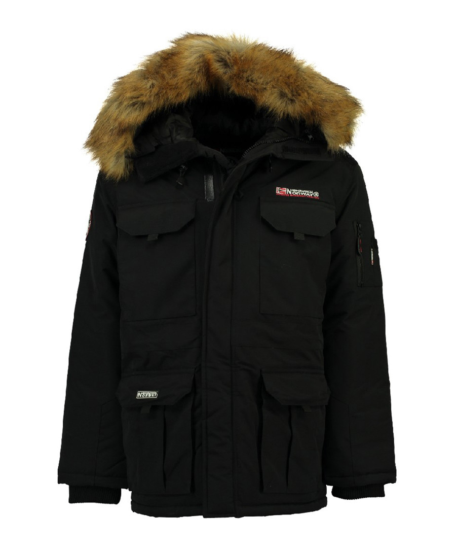 Black polyamide & faux fur hood parka Sale - geographical norway
