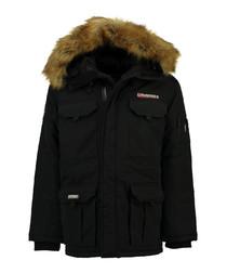 Black polyamide & faux fur hood parka