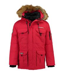 Red polyamide & faux fur hood parka