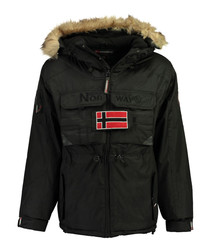 Black branded faux fur hood parka coat