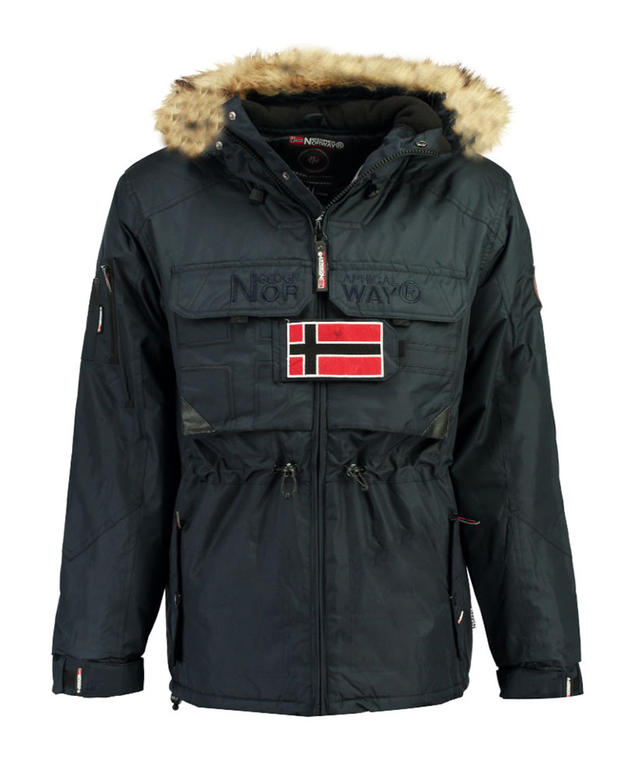 Navy branded faux fur hood parka coat Sale - geographical norway