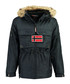 Navy branded faux fur hood parka coat Sale - geographical norway Sale