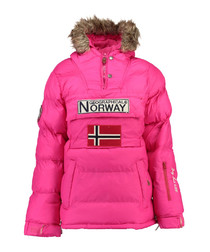 Pink branded faux fur hood parka coat