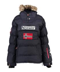 Navy branded faux fur hood parka coat