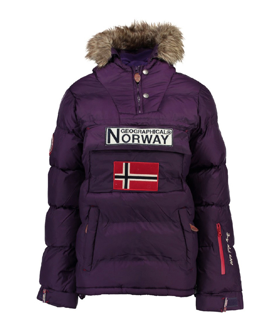 Purple branded faux fur hood parka coat Sale - geographical norway