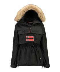 Black branded faux fur hood parka coat