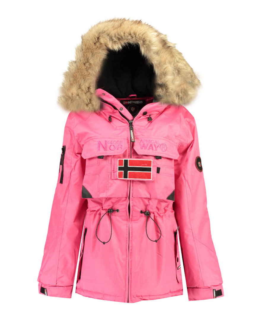Fuchsia faux-fur branded parka coat Sale - geographical norway