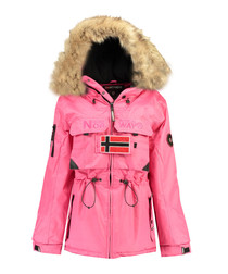 Fuchsia faux-fur branded parka coat