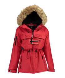 Red branded faux fur hood parka coat