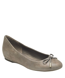 Taupe leather tied ballet pump