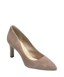 Petal suede heeled pumps