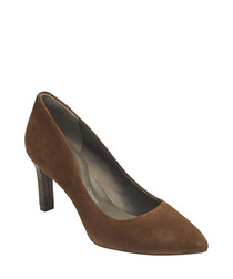 Almond suede heeled pumps