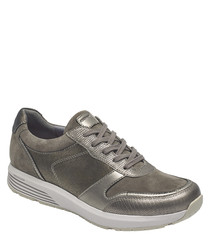 Taupe metallic lace-up sneakers