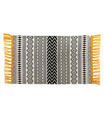 Black, white & yellow cotton tassel rug