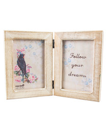 Brown wood rustic double photo frame