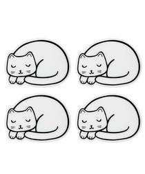 4pc white cat nap coasters