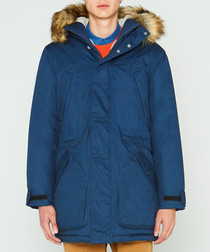 Men's navy pure cotton parka coat