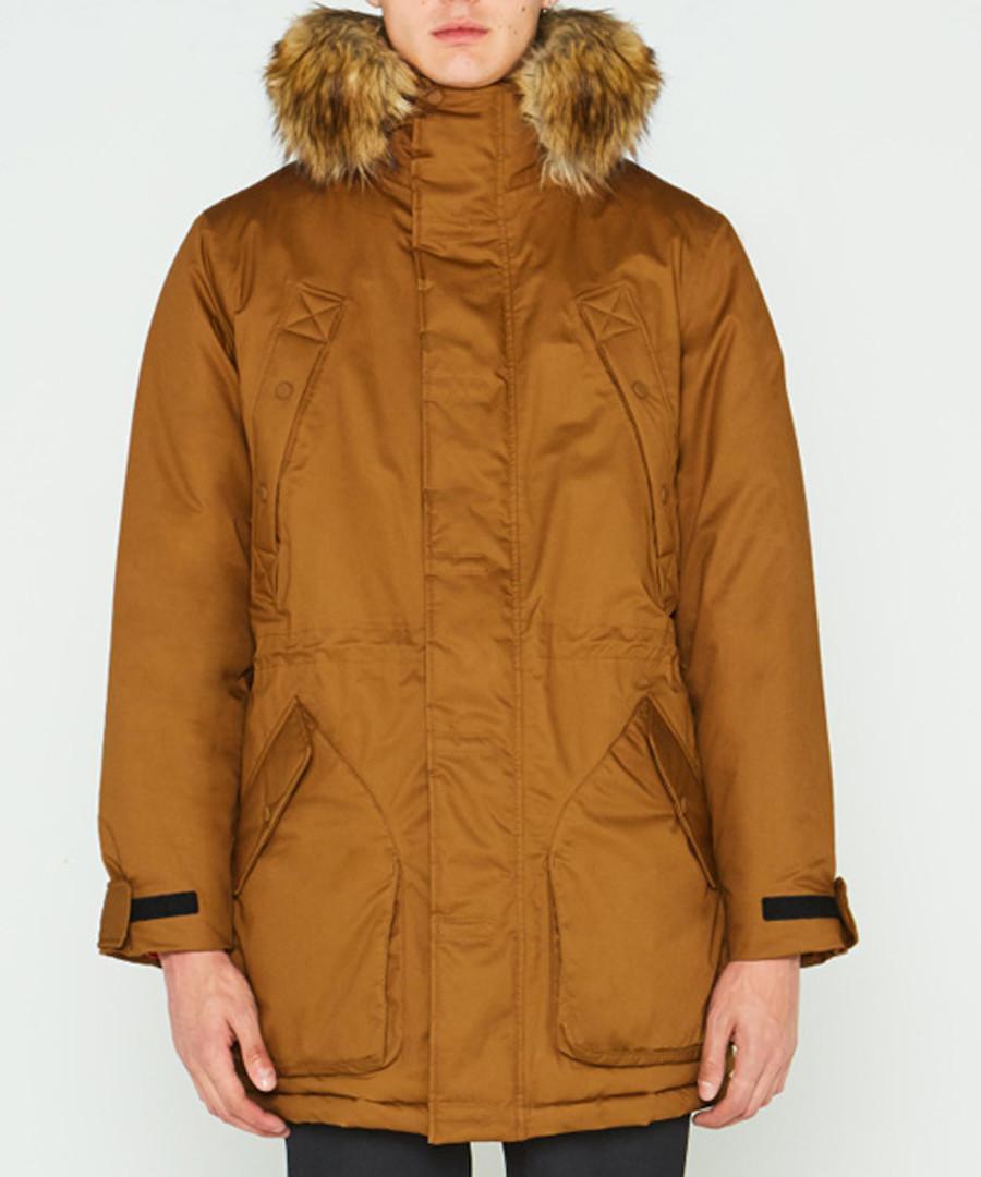 Men's camel pure cotton parka coat Sale - hunter