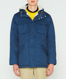 Men's navy pure cotton insulated anorak