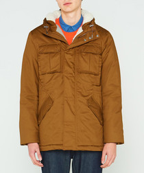 Men's camel pure cotton insulated anorak
