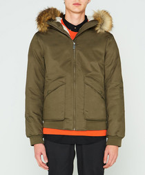 Men's khaki pure cotton insulated parka
