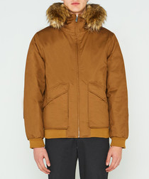 Men's camel pure cotton insulated parka