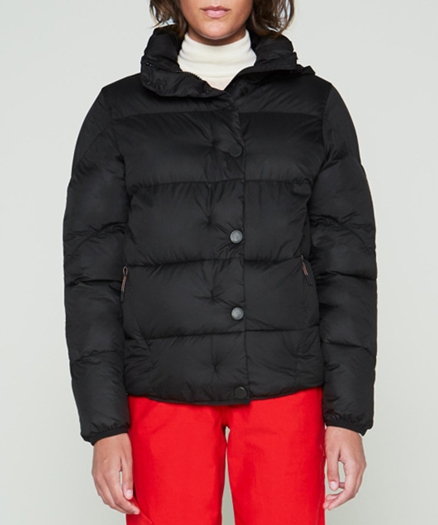Women's Original black button puffer Sale - hunter