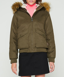 Women's khaki pure cotton parka jacket