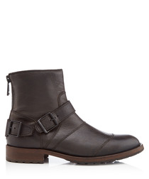 Trialmaster black leather buckle boots