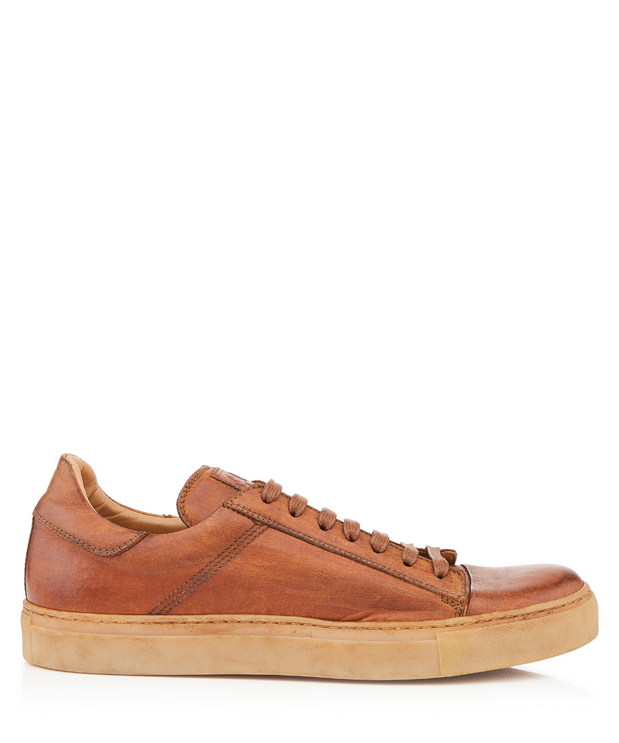 Wanstead cognac leather sneakers Sale - belstaff