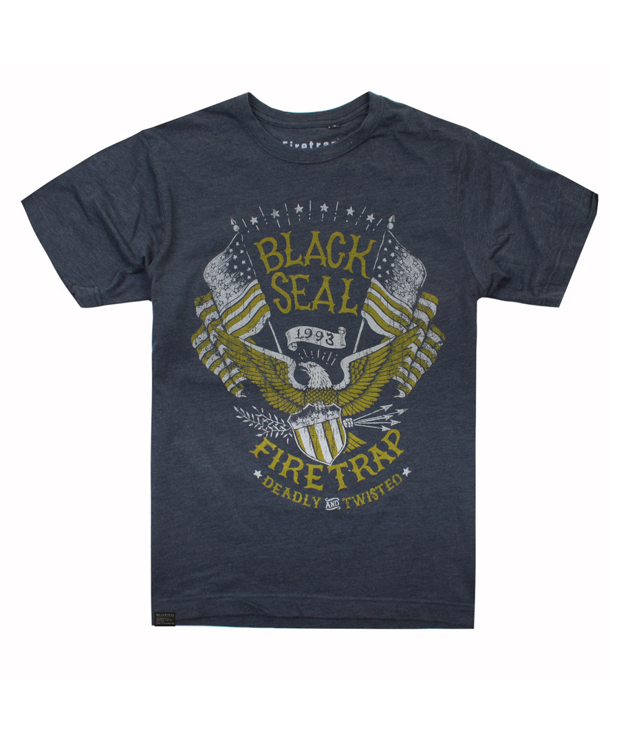 Charcoal pure cotton print T-shirt Sale - firetrap