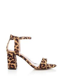 Leopard printed block heel sandals