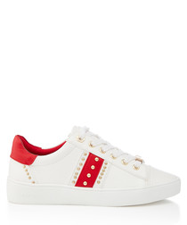 White & red studded sneakers