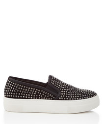 Black studded slip-ons