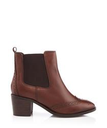 Tan brogue heel ankle boots