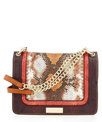 Flow brown snake-effect crossbody
