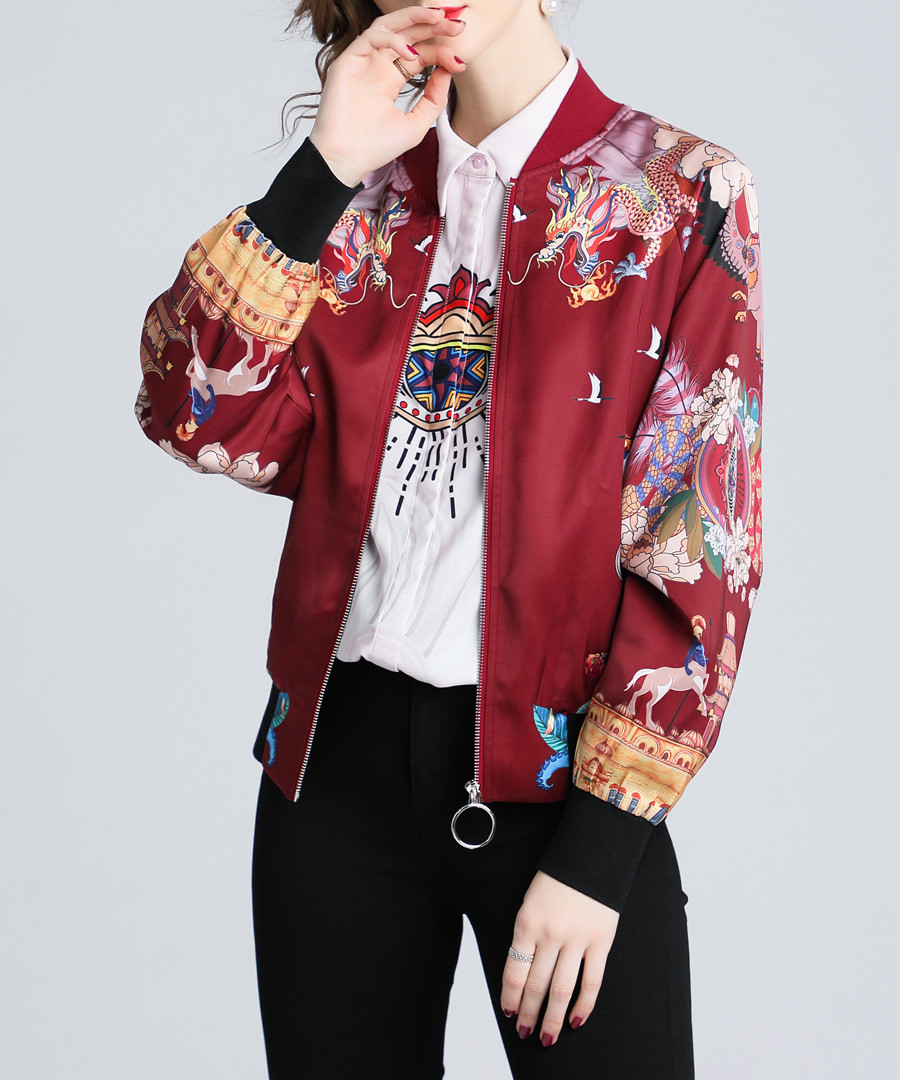 Red wine printed bomber jacket Sale - Kaimilan