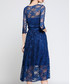 Blue lace semi sheer dress Sale - Kaimilan Sale
