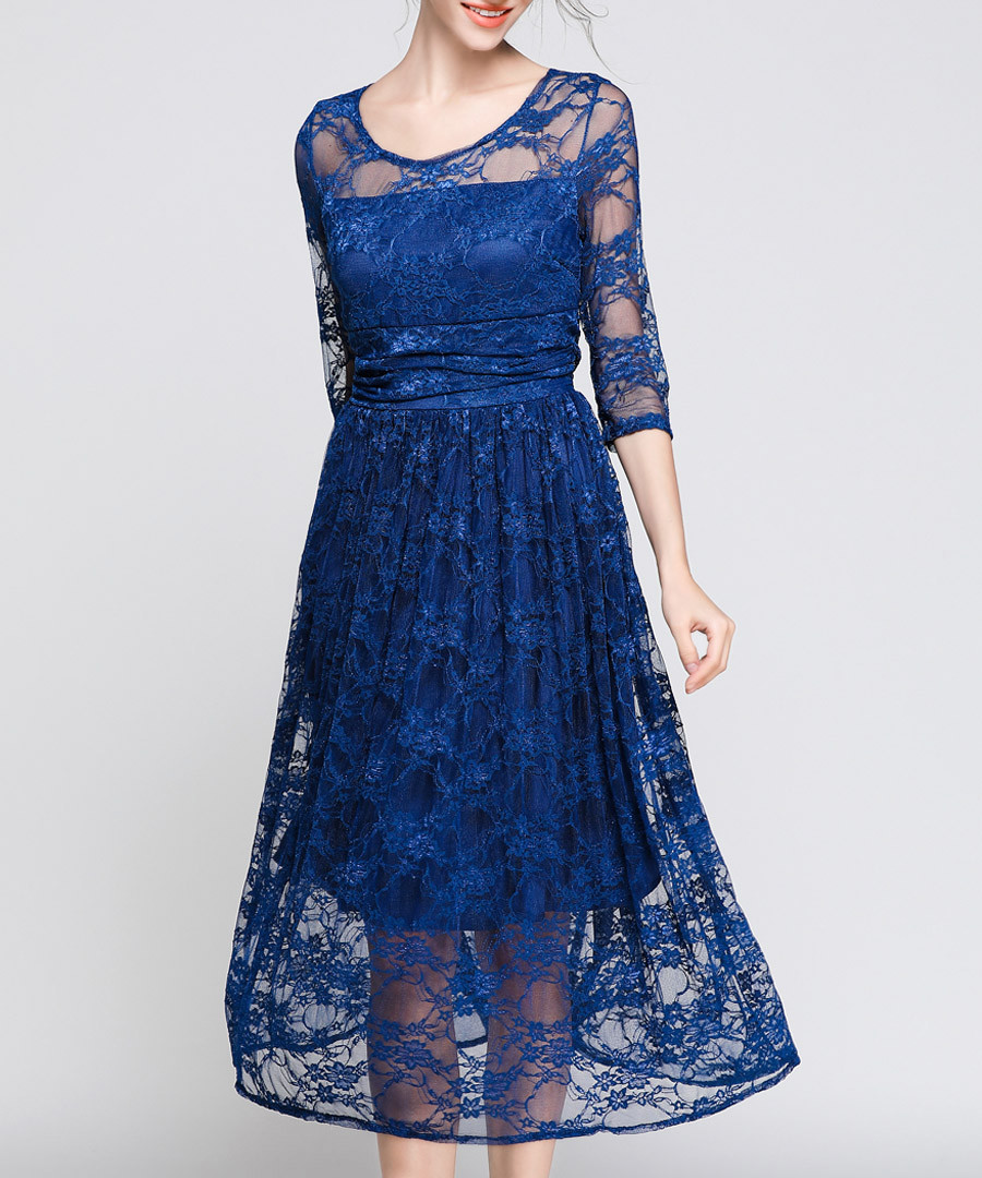 Blue lace semi sheer dress Sale - Kaimilan